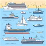 Set płaski jacht, hulajnoga, łódź, ładunku statek, steamship, prom, łódź rybacka, holownik, masowy przewoźnik, naczynie, przyjemn Zdjęcie Stock
