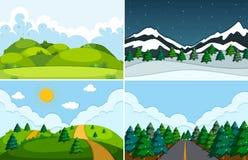 Set płaski natura krajobraz ilustracja wektor