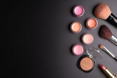 Set płaski odgórny widok różnorodny fachowy żeński kosmetyka br Zdjęcie Royalty Free