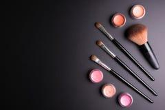 Set płaski odgórny widok różnorodny fachowy żeński kosmetyka br Zdjęcia Royalty Free
