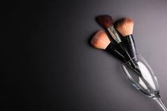 Set płaski odgórny widok różnorodny fachowy żeński kosmetyka br Obrazy Stock