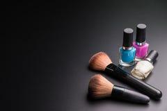 Set płaski odgórny widok różnorodny fachowy żeński kosmetyka br Obraz Stock