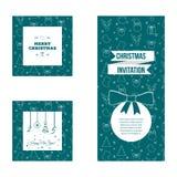 Set płaski projekta nowego roku i bożych narodzeń kartka z pozdrowieniami szablony Obrazy Stock