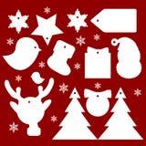 Set płaski projekta nowego roku i bożych narodzeń prezent etykietki Obraz Stock