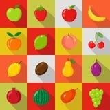 Set płaskie ikony Świeże, naturalne owoc, Obrazy Stock