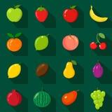 Set płaskie ikony Świeże, naturalne owoc, Kreskówka styl Fotografia Royalty Free