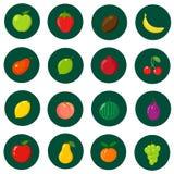 Set płaskie ikony Świeże, naturalne owoc, Kreskówka styl Obrazy Royalty Free