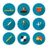 Set płaskie ikony kłaść płytkę Fotografia Royalty Free