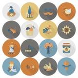 Set Płaskie jesieni ikony Obrazy Stock