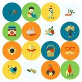 Set Płaskie jesieni ikony Zdjęcia Stock