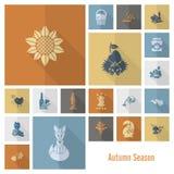 Set Płaskie jesieni ikony Zdjęcie Royalty Free