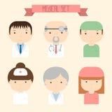 Set płaskie kolorowe wektor lekarki ikony medyczny royalty ilustracja