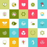 Set płaskie projekt ikony dla piękna i natury Fotografia Stock