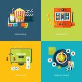 Set płaskie projekta pojęcia ikony dla rozrywka rodzajów ilustracji