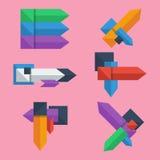 Set płaskiego projekta geometryczni infographic szablony dla biznesowego tła, graficzna strona internetowa Fotografia Stock