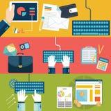 Set płaskiego projekta wektorowi ilustracyjni pojęcia dla strona internetowa układu, telefon komórkowy usługa i apps, komputerowa Zdjęcie Royalty Free