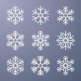 Set płatek śniegu na szarym tle ilustracja wektor