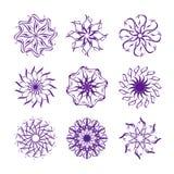 Set płatek śniegu odizolowywający na biały plecy Zdjęcia Royalty Free