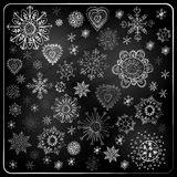 Set płatki śniegu, Chalkboard tekstura ilustracja wektor