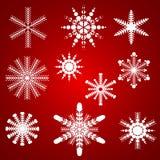Set płatki śniegu round dla bożych narodzeń Fotografia Royalty Free
