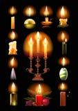 Set płonące świeczki: klasyk, w właścicielu, na candlestick, boże narodzenia royalty ilustracja
