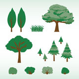 Set płascy drzewa, krzaki i trawa, ilustracja wektor