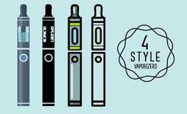 Set płascy ikona odparowalniki, papieros Fotografia Royalty Free