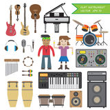 Set Płaska instrument muzyka Obrazy Royalty Free