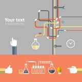 Set płaska projekt ikona dla eksperymentu Obrazy Stock