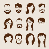 Set płaskie ludzkie ikony. Obraz Royalty Free