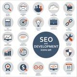 Set płaskie projekt ikony dla Seo i rozwoju Obrazy Royalty Free