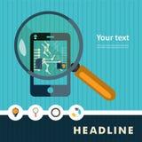 Set płaskie projekt ikony dla smartphone ilustracji