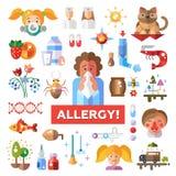 Set płaskie projekta allergen i alergii ikony royalty ilustracja