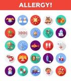 Set płaskie projekta allergen i alergii ikony ilustracja wektor