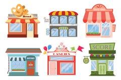 Set płaskie projektantów sklepów i restauracj ikony fasady Obraz Royalty Free