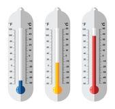 Set płaskie termometr ikony Obraz Stock