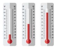 Set płaskie termometr ikony Obrazy Royalty Free