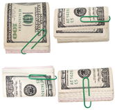 Set pack $ 100 dollar bills and paper clip Royalty Free Stock Photo