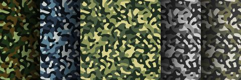Set of 5 pack Camouflage seamless patterns. Abstract modern military textile print background. Vector illustration royalty free illustration