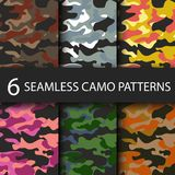 Set of 6 pack Camouflage seamless patterns background with black shadow. Classic clothing style masking camo repeat. Print. Bright colors of forest texture Royalty Free Stock Photography