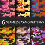 Set of 6 pack Camouflage seamless patterns background with black shadow. Classic clothing style masking camo repeat Royalty Free Stock Images