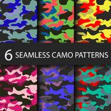 Set of 6 pack Camouflage seamless patterns background with black shadow. Classic clothing style masking camo repeat Royalty Free Stock Photo