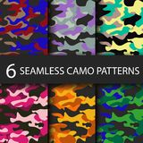 Set of 6 pack Camouflage seamless patterns background with black shadow. Classic clothing style masking camo repeat Royalty Free Stock Image