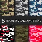 Set of 6 pack Camouflage seamless patterns background with black shadow. Classic clothing style masking camo repeat Stock Photo