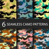 Set of 6 pack Camouflage seamless patterns background with black shadow. Classic clothing style masking camo repeat Royalty Free Stock Photography