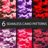 Set of 6 pack Camouflage seamless patterns background with black shadow. Classic clothing style masking camo repeat Stock Images