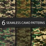 Set of 6 pack Camouflage seamless patterns background with black shadow. Classic clothing style masking camo repeat Stock Photography