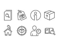 Package, Search files and Parcel tracking icons. Time management, Coupons and Search book signs. Set of Package, Search files and Parcel tracking icons. Time Stock Photography