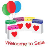 Set of packages for purchases, sale invitation Royalty Free Stock Photo