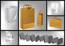 Set of packages. Paper packaging packages, bags stock illustration